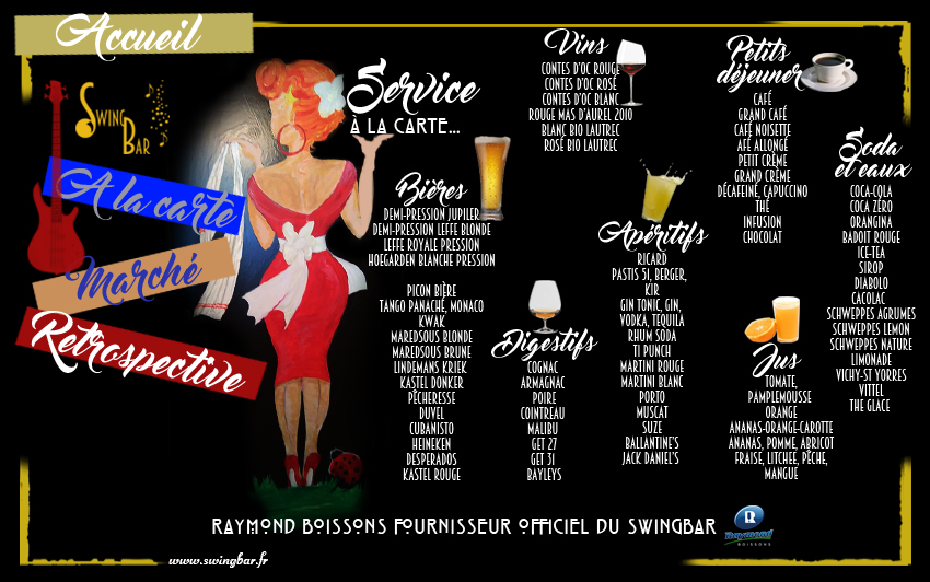 menus du swingbar description des boissons servies